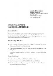 English Worksheets: Curriculum vita form structure-1