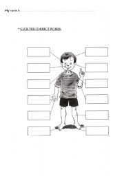 English Worksheets: Glue the missing body parts (words only)