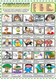 English Worksheet: COMPARISONS (COMPARATIVE-SUPERLATIVE)  (B&W  VERSION INCLUDED)
