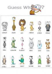 English Worksheet: GUESS WHO (ANIMALS) Sheet 1