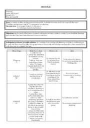 English Worksheet: Lesson plan to use with the song