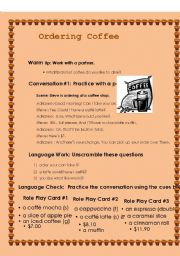 English Worksheet: ORDERING COFFEE