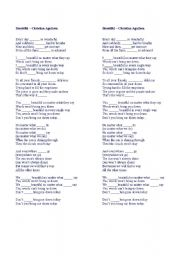 english worksheets beautiful christina aguilera