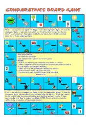 English Worksheet: Comparatives Board Game