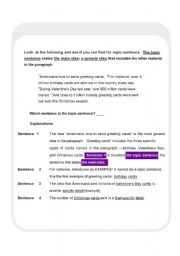English Worksheet: Finding the Main Idea of the Paragraph.