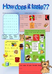 Different tastes activity worksheet