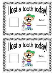 English Worksheets: I Lost a Tooth Today
