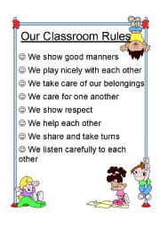 English Worksheet: Our Classroom Rules