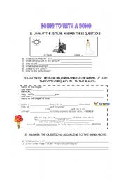 English Worksheet: Song Going to Future with exercises