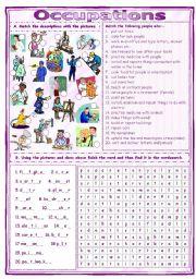 Match & Find Occupations Worksheet