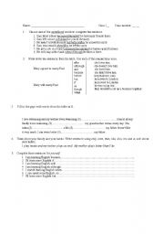 English Worksheets: Conjuntions and connecting words