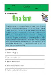 Test - on a farm - daily routine 1