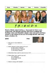 English Worksheet: Friends - Series 3 Episode 21 - Chick and the duck