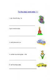 English Worksheet: Jumbled sentences ( Wrong word order)
