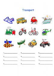Transport worksheet for spelling and colouring practice. | Kinder ...