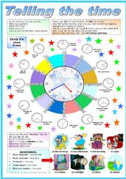 English Worksheet: TELLING THE TIME - (B&W VERSION  INCLUDED)