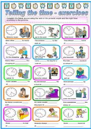 English Worksheet: TELLING THE TIME + PRESENT SIMPLE (B&W VERSION INCLUDED)