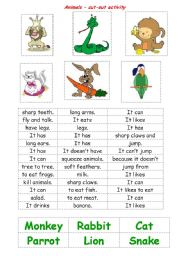 English Worksheets: Animals - a cut-out activity