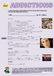 English Worksheet: ADDICTIONS - SONG �I�M NOT AN ADDICT�, BY K�S CHOICE