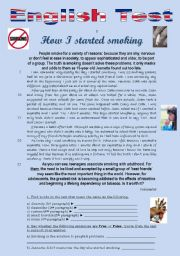 TEST - ADDICTIONS: HOW I STARTED SMOKING (3 pages)