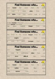 English Worksheet: Find Someone who... (Comparative of Adjectives)