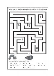 English Worksheets: The Very Hungry Caterpillar Maze