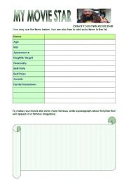 English Worksheets: CREATE YOUR OWN MOVIE STAR!