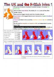 English Worksheet: The UK and the British Isles 1/2