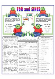 English Worksheet: FOR - SINCE
