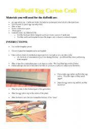 English Worksheets: Daffodill egg carton craft