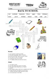photograph about Back to School Crossword Puzzle Printable identify back again toward college or university crossword - ESL worksheet as a result of lexapixie