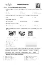 English Worksheet: Twilight Part 1 - Meet the Characters