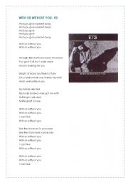 English Worksheets: With or without you- U2