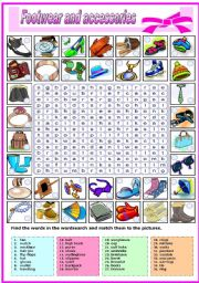 FOOTWEAR AND AND ACCESSORIES-WORDSEARCH (B&W VERSION INCLUDED)