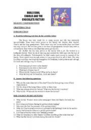 English Worksheet: Charlie and the Chocolate Factory: Reading comprehension