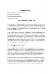 English Worksheet: The Miracle of Green Tea