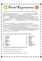 English Worksheet: Facial Expressions
