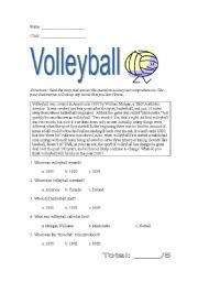 English Worksheet: Origin of Volleyball (reading comprehension)