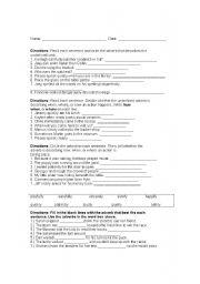 Printables Conjunctive Adverbs Worksheet english teaching worksheets adverbs adverb worksheet