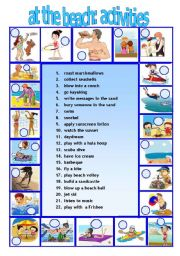 English Worksheet: AT THE BEACH 2 activities we do