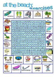 English Worksheet: AT THE BEACH 3- EXERCISES