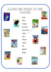English Worksheet: **** Match the Movie Genre to the Poster ***** Funny Movie Posters ****