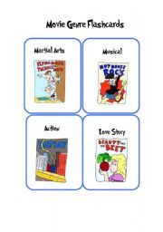 English Worksheets: ****Movie Genre Funny Flashcards (12 High Quality Game/ Flash Cards)****