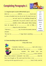 English Worksheets: Completeing paragraphs 1