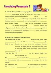 English Worksheets: Completing paragraphs 2