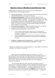 English Worksheets: Question Types in Reading Comprehension Tests