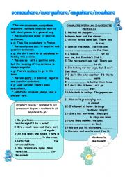 English Worksheet: INDEFINITE PRONOUNS(-where)