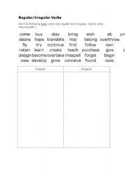 English worksheet: Regular/irregular verbs