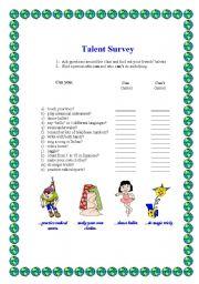 English Worksheets: TALENT SURVEY