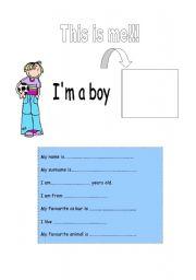 English Worksheets: I�m a boy!